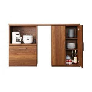 ●ポイント5倍●日本製完成品 天然木調ワイドキッチンカウンター Walkit ウォルキット 幅150 レンジ台+食器棚(ゴミ箱収納付)[1D][00]