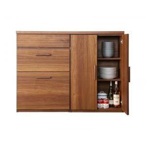 ●ポイント5倍●日本製完成品 天然木調ワイドキッチンカウンター Walkit ウォルキット 幅120 引き出し+食器棚[1D][00]