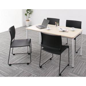 ●ポイント5倍●多彩な組み合わせに対応できる 多目的オフィスワークテーブルセット ISSUERE イシューレ 5点セット(テーブル+チェア4脚) W140[4D][00]