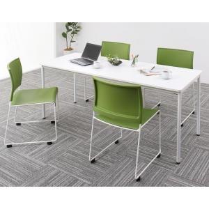 ●ポイント5倍●多彩な組み合わせに対応できる 多目的オフィスワークテーブルセット ISSUERE イシューレ 5点セット(テーブル+チェア4脚) W180[4D][00]