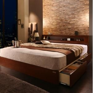 ●ポイント4.5倍●高級ウォルナット材ワイドサイズ収納ベッド Fenrir フェンリル ボンネルコイルマットレス付き ライトタイプ ダブル[4D][00]