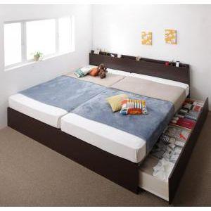 ●ポイント5倍●お客様組立 壁付けできる国産ファミリー連結収納ベッド Tenerezza テネレッツァ 羊毛入りゼルトスプリングマットレス付き A(S)+B(SD)タイプ ワイドK220[4D][00]