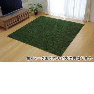 ●ポイント6.5倍●ラグ カーペット 3畳 洗える タフト風 『ノベル』 グリーン 約140×340cm 裏:すべりにくい加工 (ホットカーペット対応)【代引不可】 [13]