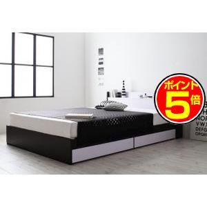 ●ポイント5倍●モノトーンモダンデザイン 棚・コンセント付き収納ベッド MONO-BED モノ・ベッド スタンダードボンネルコイルマットレス付き ダブル[L][00]