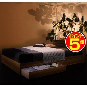 ●ポイント5倍●モダンライト・コンセント付き収納ベッド Crest fort クレストフォート スタンダードボンネルコイルマットレス付き ダブル[L][00]