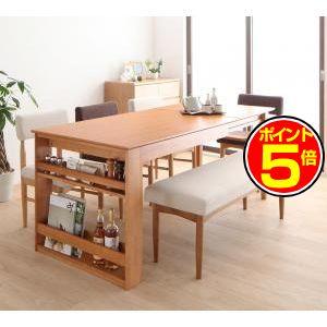 ●ポイント5倍●3段階伸縮テーブル カバーリング ダイニング humiel ユミル 6点セット(テーブル+チェア4脚+ベンチ1脚) W150[00]