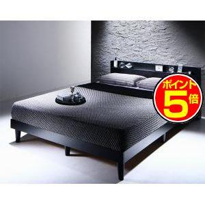 ●ポイント5倍●棚・コンセント付きデザインすのこベッド Morgent モーゲント スタンダードポケットコイルマットレス付き ダブル[L][00]
