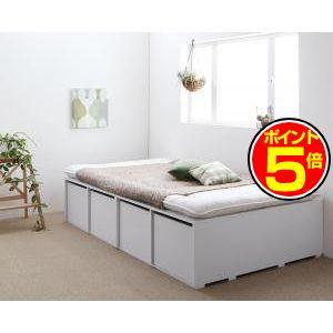 ●ポイント5倍●布団で寝られる大容量収納ベッド Semper センペール 薄型プレミアムボンネルコイルマットレス付き 引出し4杯 ハイタイプ セミダブル[L][00]