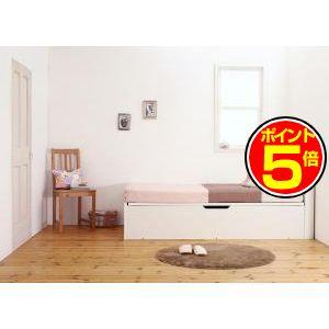 ●ポイント5倍●小さな部屋に合うショート丈収納ベッド Odette オデット 薄型プレミアムポケットコイルマットレス付き セミシングル ショート丈 深さグランド[4D][00]
