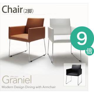 ●ポイント9倍●モダンデザインアームチェア付きダイニング【Graniel】グラニエル チェア2脚【代引不可】 [4D] [00]