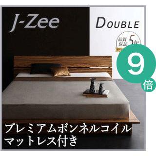 ●ポイント9倍●モダンデザインステージタイプフロアベッド J-Zee ジェイ・ジー プレミアムボンネルコイルマットレス付き ダブル[L][00]