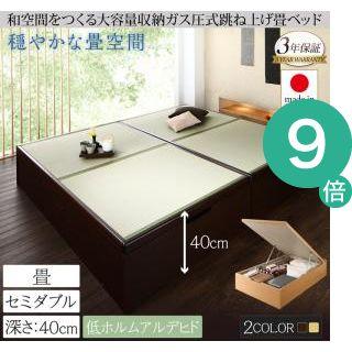 ●ポイント9倍●くつろぎの和空間をつくる日本製大容量収納ガス圧式跳ね上げ畳ベッド 涼香 リョウカ セミダブル 深さラージ[4D][00]