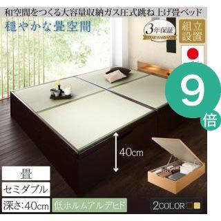 ●ポイント9倍●組立設置 くつろぎの和空間をつくる日本製大容量収納ガス圧式跳ね上げ畳ベッド 涼香 リョウカ セミダブル 深さラージ[4D][00]