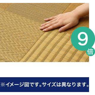 ●ポイント9倍●純国産 い草花ござカーペット 『京刺子』 ベージュ 江戸間6畳(約261×352cm)【代引不可】 [13]