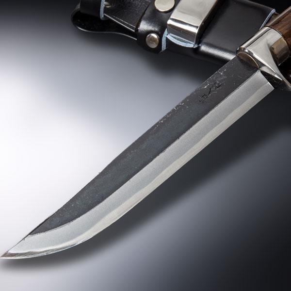 狩猟用剣鉈 青紙鋼黒打洋漆仕上 6寸 東周作 (ハンティングナイフ 和式ナイフ)