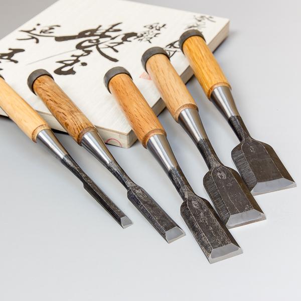 "5 pcs Japanese Chisel Set ""NEZUMI (Mouse in Japanese)"" Handmade by Banshu Miki Craftsmen in Paulownia Box"
