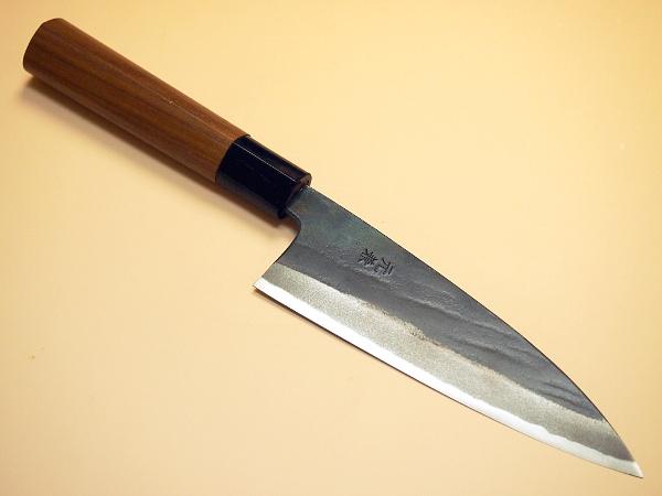 """舟行刀 150 毫米 Tosa 伪造餐具结构""""最好""""锻造黑色击中一把双刃剑铁匠的工匠手工制作的蓝纸钢"""