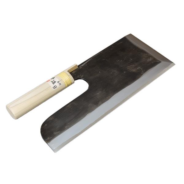 安来白紙鋼鍛造 黒打ち 麺切り包丁 300mm (そば切り包丁 そば打ち道具 蕎麦切り包丁)
