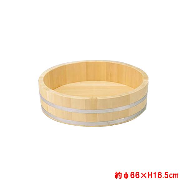 【代引き不可】椹 さわら 大半切 ステンレスタガ 底竹補強付き 寿司桶 約φ66×H16.5cm