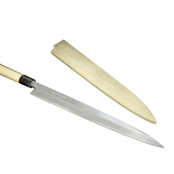 柳刃包丁 330mm 『堺』 元兼 白紙鋼 水牛柄 木鞘付 刺身包丁 正夫 業務用