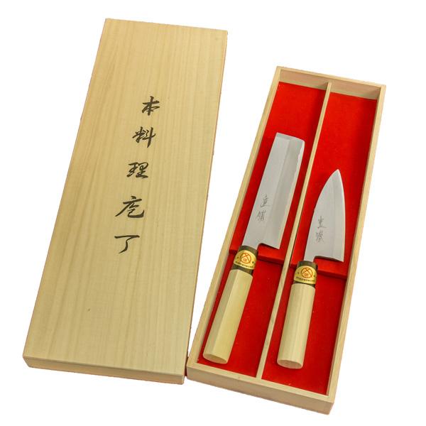 堺 重勝 一般向和包丁 2本組 出刃150 薄刃165 木箱入 楽ギフ_
