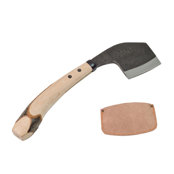 越後鉈鍛冶味方屋 なた 両刃 首曲り 桜柄 床皮刃当て付ナタ 送料無料
