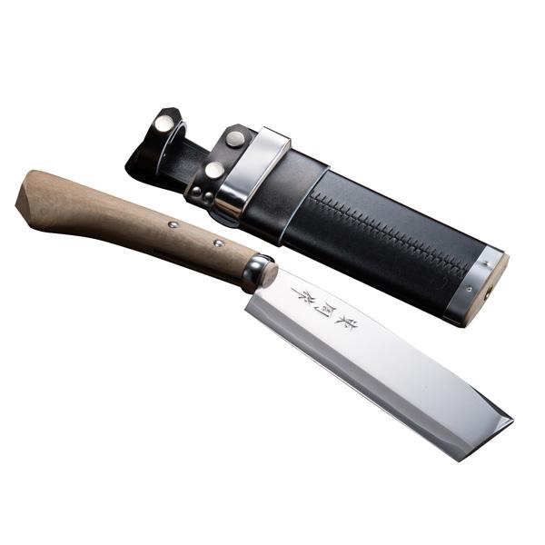 腰鉈 火造り 極上 腰ナタ 両刃 青紙鋼 並幅 195mm 鞘付き なた 送料無料