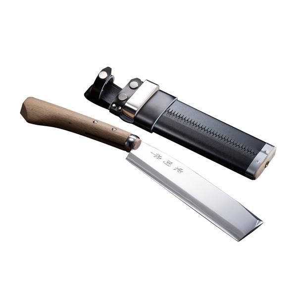 腰鉈 火造り 極上 腰ナタ 両刃 青紙鋼 並幅 210mm 鞘付き なた 送料無料