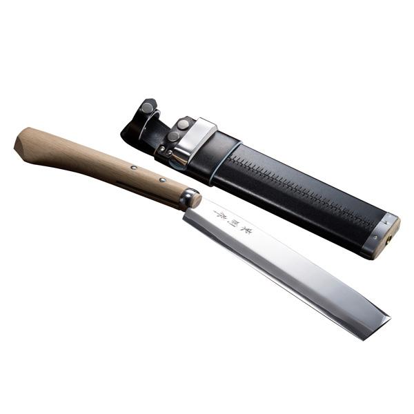 腰鉈 火造り 極上 腰ナタ 片刃 青紙鋼 細身 240mm 鞘付き なた 送料無料