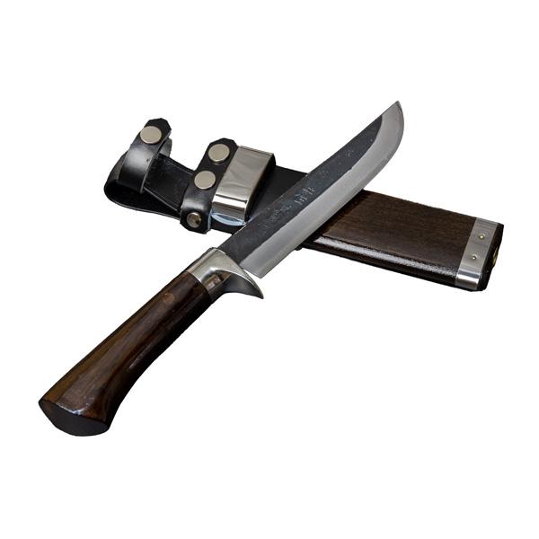 剣鉈 狩猟用 青紙鋼黒打洋漆仕上 5寸 東周作 (狩猟ナイフ 剣ナタ ハンティングナイフ)