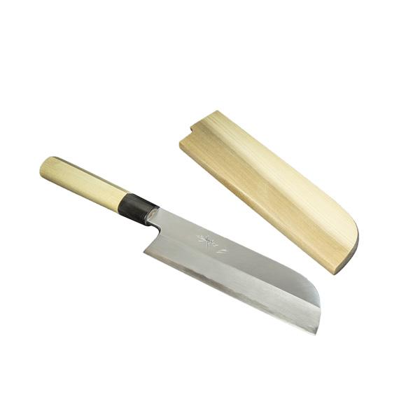 鎌型薄刃包丁 180mm 『堺』 元兼 白紙鋼 水牛柄 木鞘付