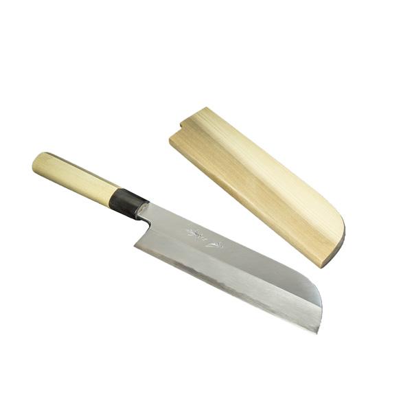 鎌型薄刃包丁 210mm 『堺』 元兼 白紙鋼 水牛柄 木鞘付