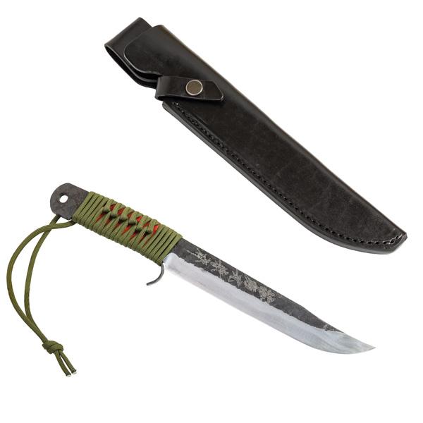 青紙剣ナタ 180mm 本革ケース アウトドアナイフ 剣鉈 ロープ巻ナイフ