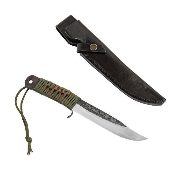 青紙剣ナタ 150mm 本革ケース アウトドアナイフ 剣鉈 ロープ巻柄