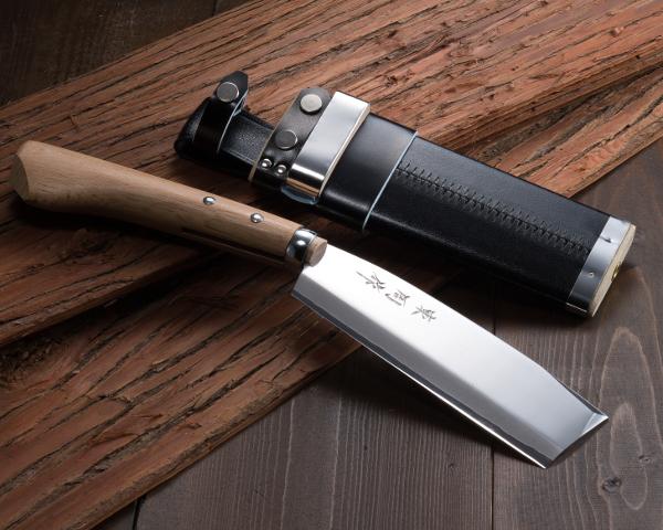 """AZUMASYUSAKU"" Hatchet 180mm for Right Hander with Original Case, Blade Edge :  Aogami Steel, Handmade by Japanese Craftsmen"