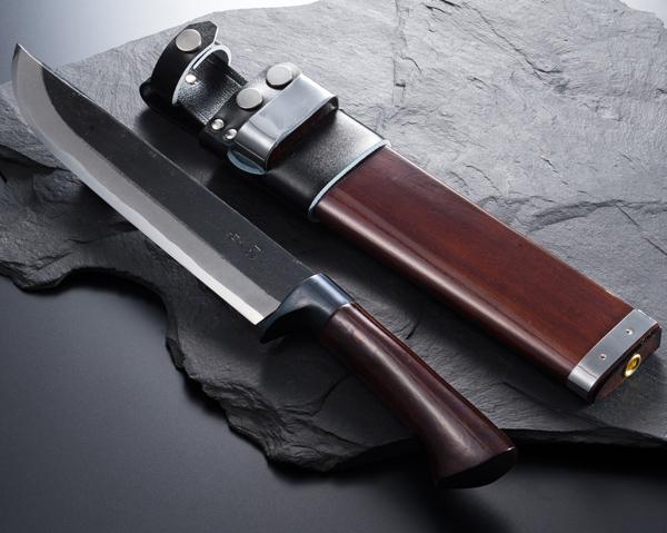 """AZUMASYUSAKU"" Kurouchi Hunting Knife 210mm Aogami Steel with Sheath, Handmade by Tosa Craftsman"