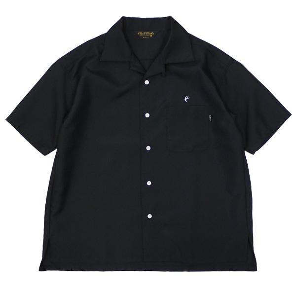 CLUCT クラクト : 半袖オープンカラー スワロウシャツ/BLACK