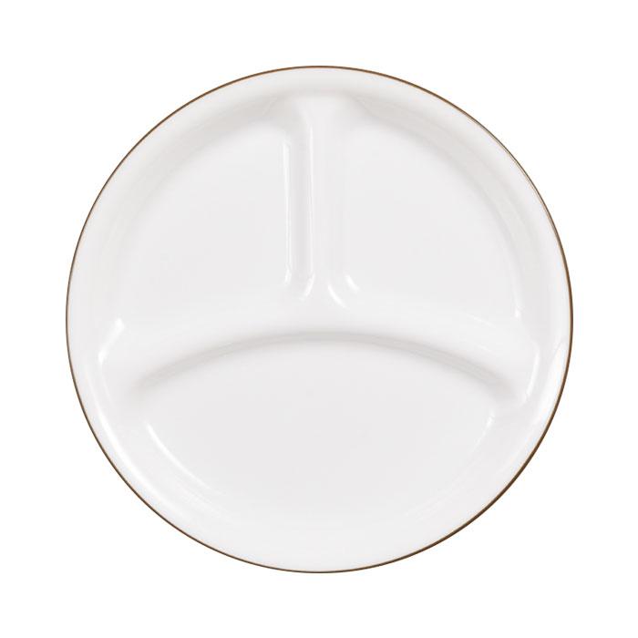 シーンを選ばないシンプルなブラウンのライン 在庫処分品 コレール ◆高品質 タフホワイト ネイチャー CP-9441 小 ランチ皿 径21.5cm 通販 J385-CRB