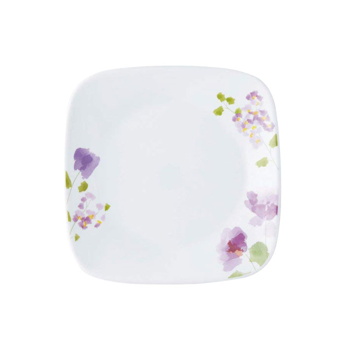 海外限定 水彩で描かれたような花模様 かわいらしさ エレガント コレール CP-9414 バイオレットミスト スクエア小皿 高額売筋 J2206-VM