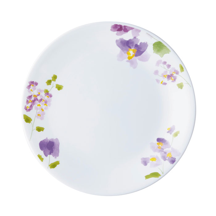 水彩で描かれたような花模様 かわいらしさ エレガント コレール 大規模セール 並行輸入品 バイオレットミスト 中皿 径21.5cm J108-VM CP-9420