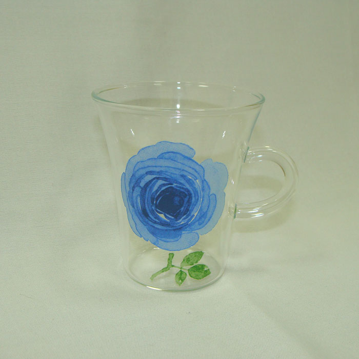 Ot Glass Heat Resistant English Rose Rappa Mag Color Blue Size 235 Ml