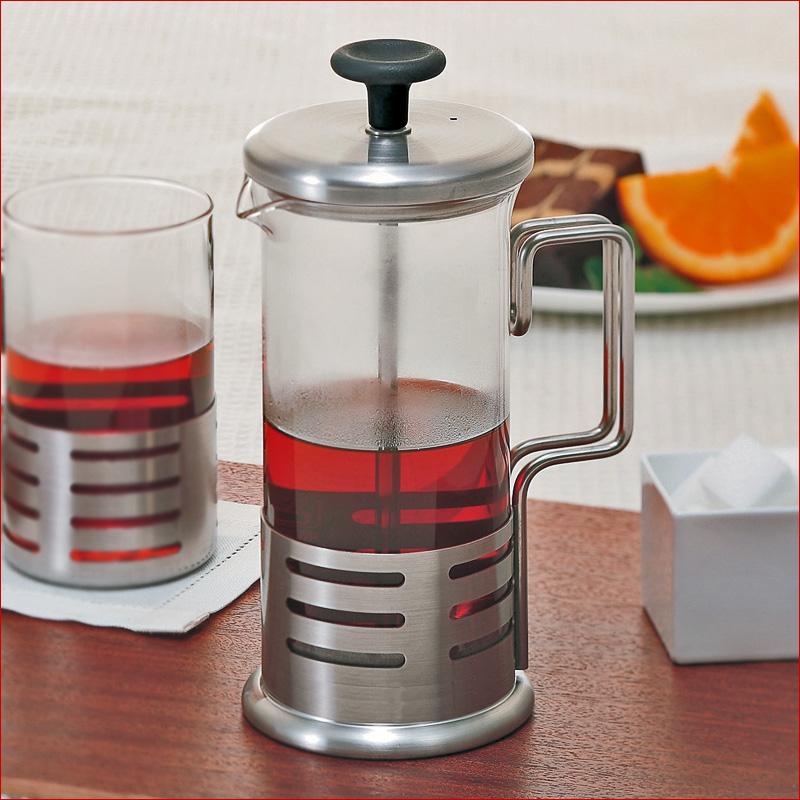 プレス式のティー コーヒーメーカー 高級品 ハリオ 購入 HARIO ブライトN ハリオール ヘアラインシルバー プレス式ティーポット2杯用