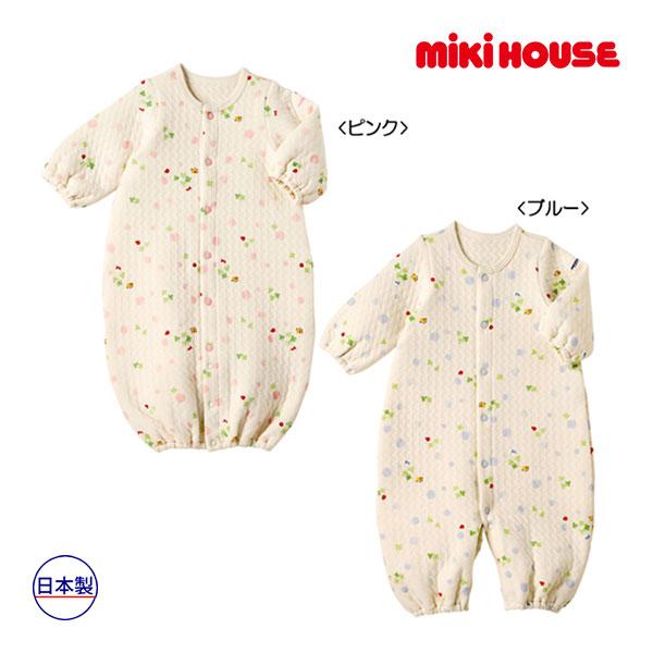(海外販売専用)ミキハウス【MIKI HOUSE】(ベビー)みつばちとてんとう虫のニットキルト素材のツーウェイオール(50cm-60cm)