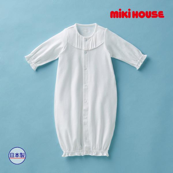 ミキハウス正規販売店/(海外販売専用)ミキハウス mikihouse シンプルフリル♪純白 ツーウェイオール(50cm-60cm)