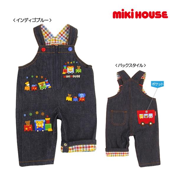 (海外販売専用)ミキハウス【MIKI HOUSE】汽車ぽっぽー♪オーバーオール(70cm・80cm・90cm)