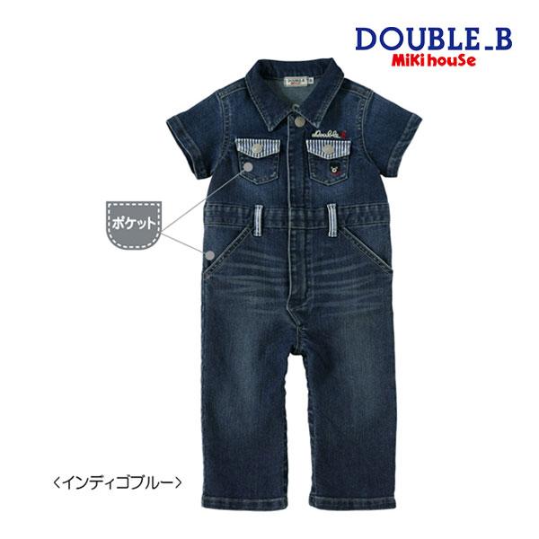 (海外販売専用)ミキハウス ダブルビー mikihouse 8オンスデニムの半袖カバーオール〈S-M(70cm-90cm)〉