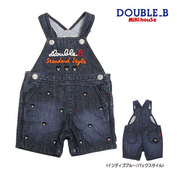 (海外販売専用)ダブルB【DOUBLE B】プチ刺繍★5分丈デニムオーバーオール(80cm・90cm)