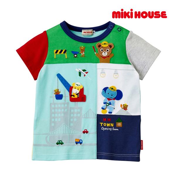 ミキハウス mikihouse 編みワッペン付き☆働くプッチー半袖Tシャツ(80cm・90cm)