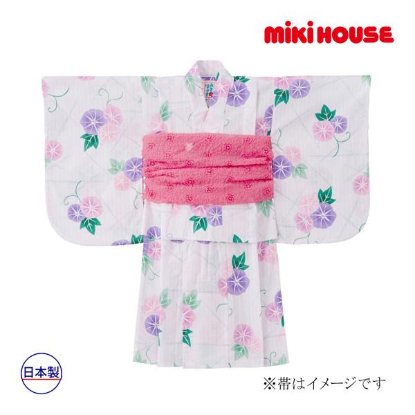 ミキハウス【MIKI HOUSE】あさがお柄浴衣(女児用)(130cm(120cm-130cm))