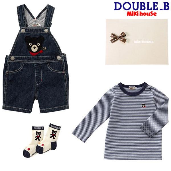 ダブルB【DOUBLE B】5分丈オーバーオールセット〈フリー(70-80cm)  〉【ラッピング済】